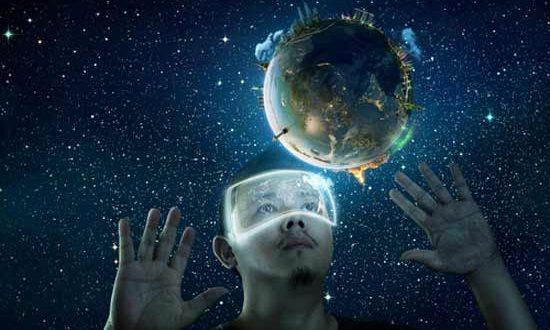 человек и земной шар в виртуальной реальности