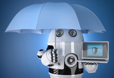 робот под зонтом